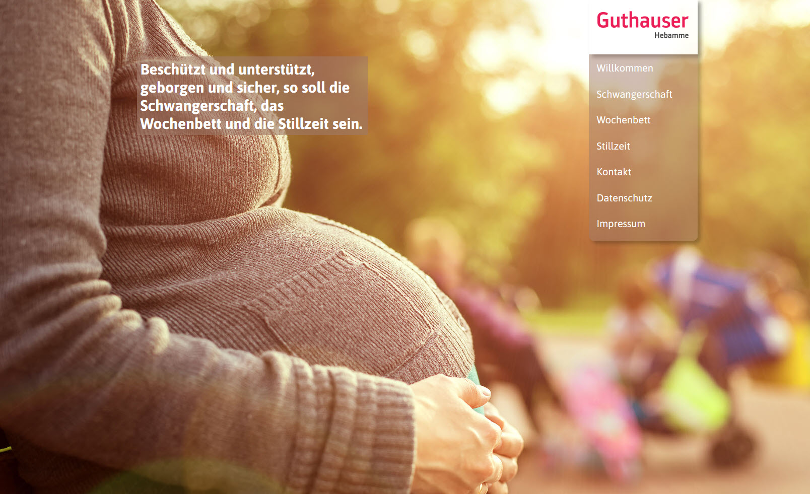 Hebamme Guthauser – Stilvoller OnePager